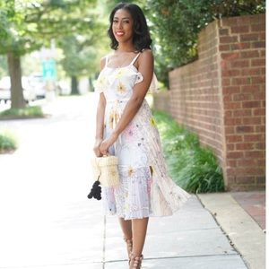 {Topshop} Floral Pleated Midi Dress sz. 10